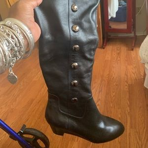 Black leather knee high boots New !